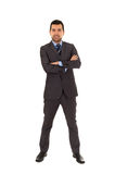 Young latin man standing wearing grey suit Stock Photography