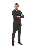Young latin man standing wearing grey suit Royalty Free Stock Photo
