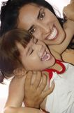 Young Latin Mother Whit Her Little Baby. Stock Photo