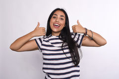 Young latin woman celebrating success Royalty Free Stock Images