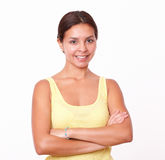 Young latin woman with crossed arms Royalty Free Stock Images