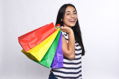 Young latin Woman with shopping bags Royalty Free Stock Photos