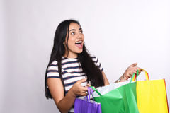 Young latin Woman with shopping bags Royalty Free Stock Images