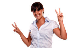 Young latin woman with a winning attitude Stock Photography