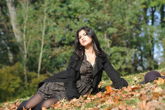 Young latina woman. In autumn royalty free stock images