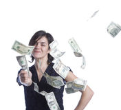 Young Latina woman throwing money. A young latina woman throws currency Royalty Free Stock Photography