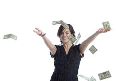 Young Latina woman throwing money. A young latina woman throws currency Stock Photography