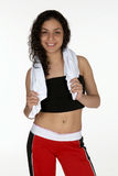 Young Latina with Workout Towel. Pretty Young Latina with Workout Towel Royalty Free Stock Photo