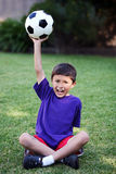 Young latino boy with Soccer Ball Stock Photo
