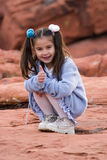 Young Latino girl. Playing in the rocks around Las Vegas, Nevada Royalty Free Stock Photo