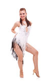 Young latino woman dancer posing on white Stock Images