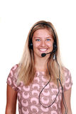 Young laughing cheerful woman with headphones Stock Photos