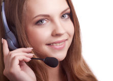 Young laughing cheerful woman with headphones Royalty Free Stock Photo