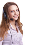 Young laughing cheerful woman with headphones Stock Photography