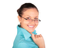 Young laughing girl in glasses Stock Images