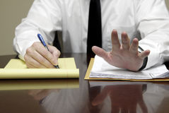 Young Lawyer Attorney At Desk Businessman Negotiations. Young attorney lawyer at desk businessman negotiations Stock Image