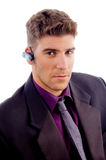 Young lawyer with Bluetooth Stock Image