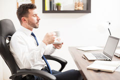 Young lawyer drinking coffee in his office Royalty Free Stock Photo