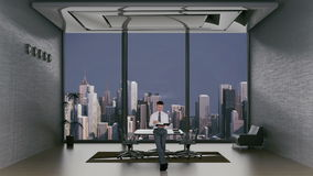 Young Lawyer Reading in Office Room with City Skyline in the Background, stock footage stock video footage