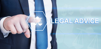 Young lawyer touching legal advice on futuristic interface Stock Images