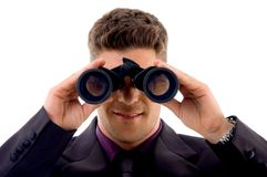 Young lawyer viewing through binoculars Stock Photos
