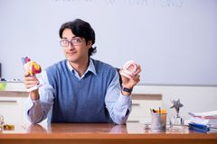 The young lecturer teacher teaching anatomy. Young lecturer teacher teaching anatomy royalty free stock image