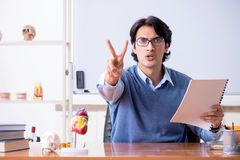 The young lecturer teacher teaching anatomy. Young lecturer teacher teaching anatomy stock image
