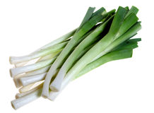 Young leeks isolated on white Stock Images