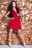 Young leggy brunette. Wearing red dress posing on golden background Royalty Free Stock Images