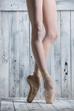 Young legs graceful ballerina Royalty Free Stock Photos