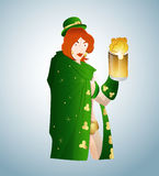 Young Leprechaun with Beer. St. Patrick's Day Young Cartoon Leprechaun Vector Illustration Royalty Free Stock Photography
