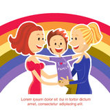 Young  lesbian couple family with son on rainbow s Royalty Free Stock Photo
