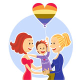 Young  lesbian couple family with son.Vector illus Stock Photo