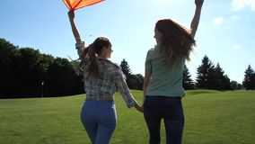 Young lgbt couple with pride flag running in park. Rear view of happy lesbian couple raising fluttering rainbow flag over their heads running holding hands stock video footage