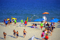Young lifeguard competition Varna beach Royalty Free Stock Image