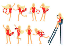 Young lifeguard woman character doing her job set. Water rescue of colorful vector Illustrations Royalty Free Stock Photography