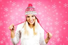 Young light hair female model, dressed in winter clothing Royalty Free Stock Photography