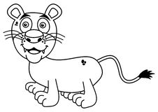 Young lion smiling for coloring. Illustration Royalty Free Stock Photo