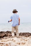 Young little boy child playing outdoor sea beach Stock Photography