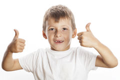 Young little boy isolated thumbs up on white Stock Photo