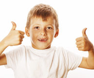 Young little boy isolated thumbs up on white Royalty Free Stock Photo