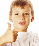 Young little boy isolated thumbs up on white gesturing Royalty Free Stock Photo
