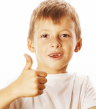 Young little boy isolated thumbs up on white gesturing Royalty Free Stock Images