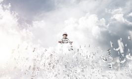 Little boy keeping mind conscious. Royalty Free Stock Images