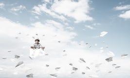 Little boy keeping mind conscious. Stock Photo