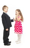 Young Little Boy Propose Marriage Surprised Girl