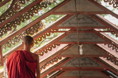 Young little Buddhist monks walking along Royalty Free Stock Images