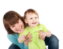 Young little daughter and his pretty young mother Royalty Free Stock Photos