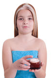 Young little girl with cream isolated on white Stock Photos