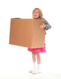Young little girl holding box Stock Images